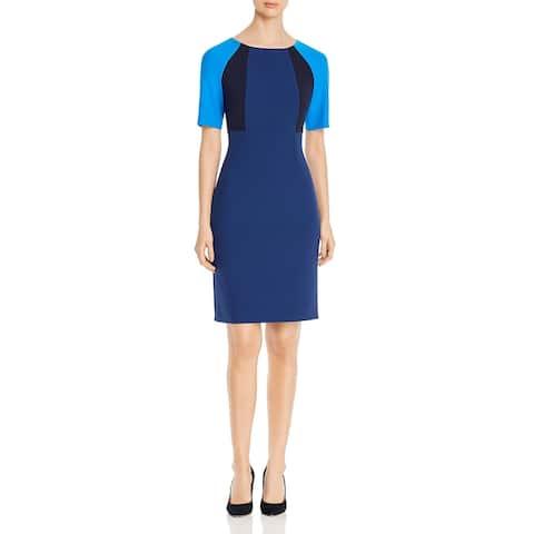 BOSS Hugo Boss Womens Wear to Work Dress Colorblock Short Sleeves - Dark Blue