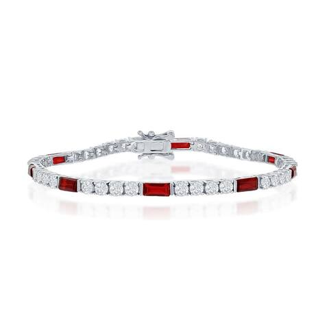 La Preciosa Created Ruby/Emerald/Sapphire 3mm Round/Emerald Simulated CZ Diamond 7.25 Tennis Bracelet Sterling Silver Jewelry
