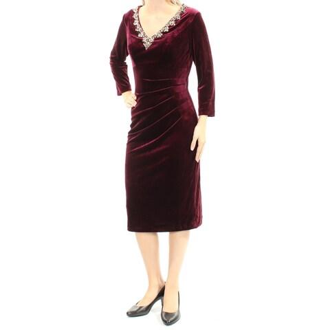 ALEX EVENINGS Womens Burgundy Beaded Long Sleeve V Neck Knee Length Party Dress Size: 4