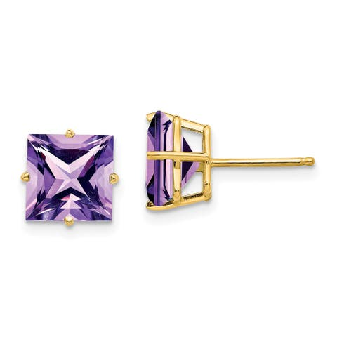 14K Yellow Gold 8mm Princess Cut Amethyst Earrings by Versil