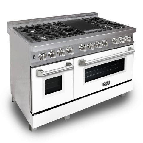 "ZLINE 48"" Professional Dual Fuel Range in DuraSnow® - White Matte Door"