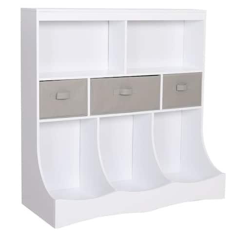 Veikous 3-Tier Kids Toy Storage Organizer Bookcase with Drawers