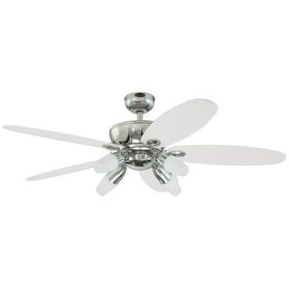 """Westinghouse 7255900 Panorama 52"""" 5 Blade Hanging Indoor Ceiling Fan with Reversible Motor, Blades, Light Kit, and Down Rod"""