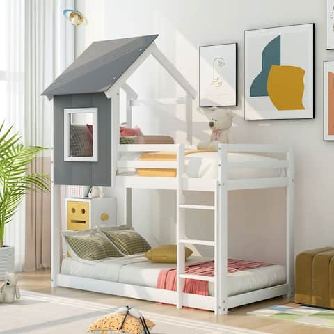 Twin over Twin Low Bunk Bed, House Bed with Roof