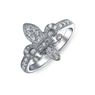 925 Sterling Silver Pave CZ Vintage Style Fleur de Lis Ring