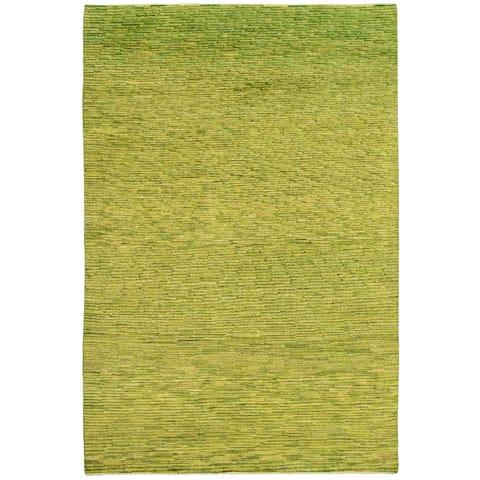 ECARPETGALLERY Hand-knotted Pak Finest Gabbeh Green Wool Rug - 5'11 x 8'11