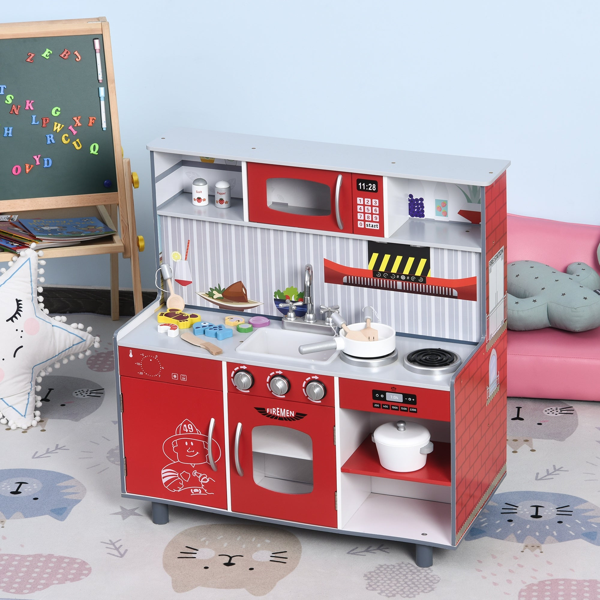 Qaba Kids Kitchen Set 2 In 1 Multifunction Doll House Play With Realistic Function For Girls And Boys Red Overstock 32458805