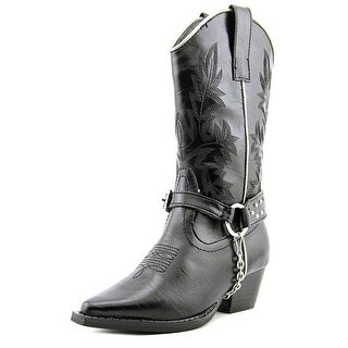 Roper Crystals & Harness Youth Pointed Toe Synthetic Black Western Boot