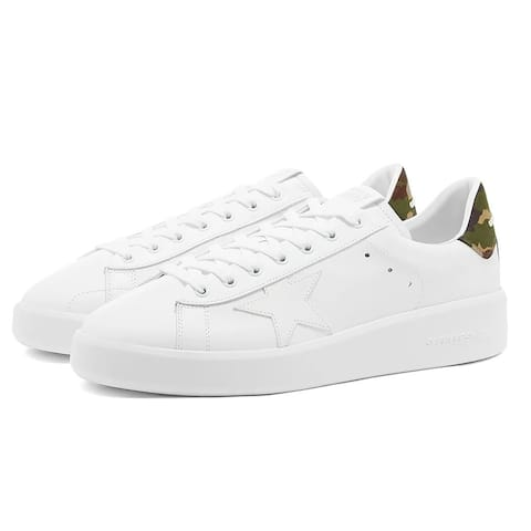 Golden Goose Mens Pure New White Camouflage Back Sneakers