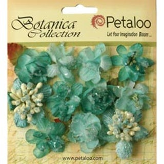 "Teal - Botanica Sugared Mini Blooms 1.25"" 11/Pkg"