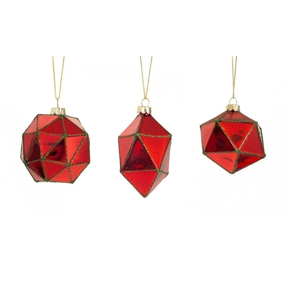 "Club Pack of 24 Red Geometric Shaped Ball, Drop and Onion Christmas Glass Ornament 4"" - GOLD"