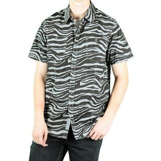 MO7 Men's Camo Print Short-Sleeve Woven Shirt
