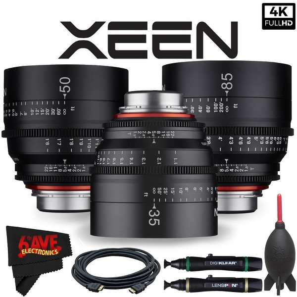 Rokinon Xeen 35mm T1.5 Lens for Canon EF Mount + Rokinon Xeen 50mm T1.5 Lens for Canon EF Mount + Xeen 85mm T1.5 Lens Bundle