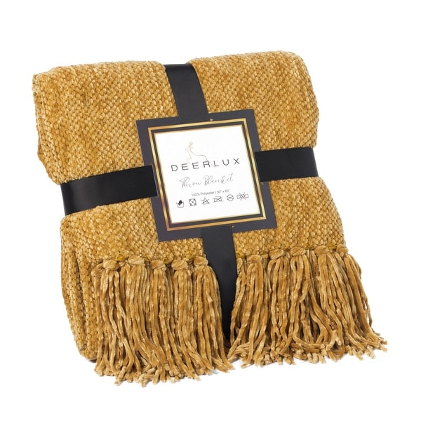 Decorative Chenille Throw Blanket with Fringe, Mustard. Opens flyout.
