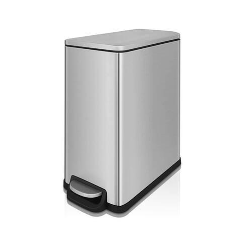 INNOVAZE 12 Gal./ 45 Liter Fingerprint Free Brushed Stainless Steel Slim Rectangular Kitchen Trash Can