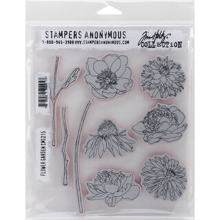 "Tim Holtz Cling Stamps 7""X8.5""-Flower Garden"