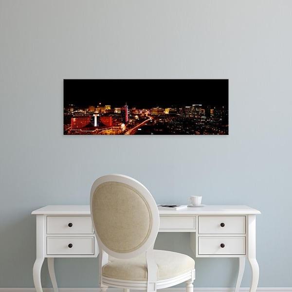 Easy Art Prints Panoramic Images's 'City lit up at night, Las Vegas, Nevada, USA' Premium Canvas Art