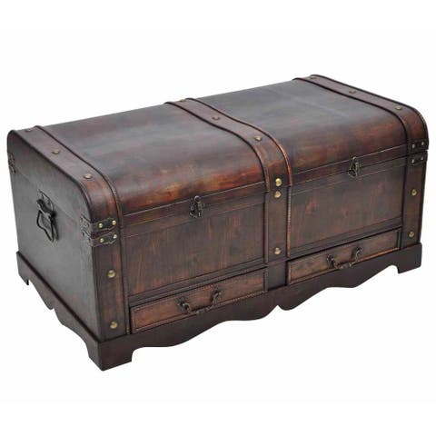 vidaXL Wooden Treasure Chest Large Brown