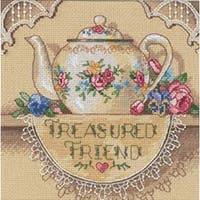 """6""""X6"""" 18 Count - Gold Petite Treasured Friend Teapot Counted Cross Stitch Kit"""