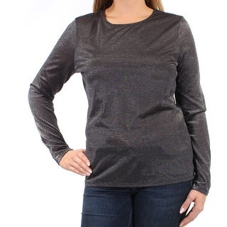GUESS Womens New 2392 Silver Long Sleeve Jewel Neck Casual Top L B+B