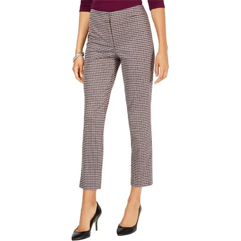Nine West Womens Houndstooth Casual Trouser Pants