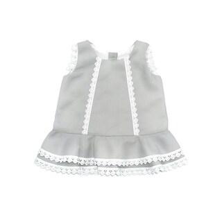 Coquelicot Baby Girls Gray Oporto Pique Embroidered Trim Camilla Dress