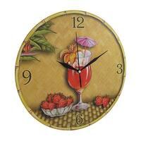 Tropical Strawberry Daiquiri Themed Wall Clock 12 In.