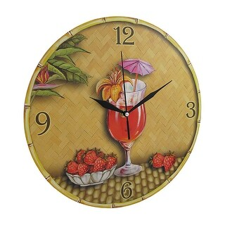 Tropical Strawberry Daiquiri Themed Wall Clock 12 In.
