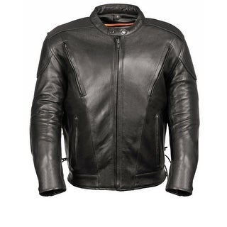 Mens Leather Side Laced Vented Scooter Jacket - Tall