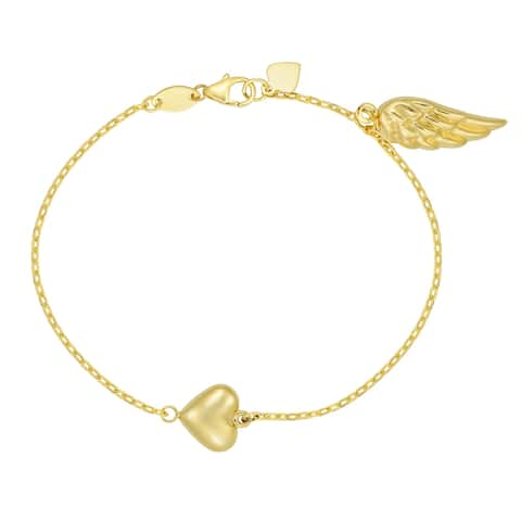 "Forever Last 10KT Gold Bonded over Silver ""Heart/Wing"" Bracelet"
