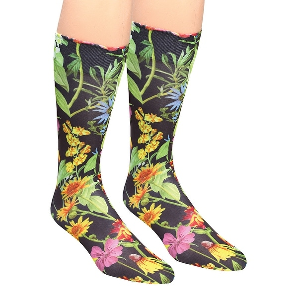 Women's Wide Calf Printed Moderate Compression Knee Highs - Black Wildflowers