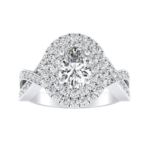 Auriya Platinum 1 3/8ctw Vintage Oval-cut Halo Diamond Engagement Ring - White I-J - White I-J
