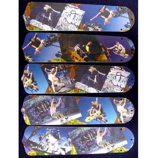 Blue Cool Skateboarding Custom Designer 52in Ceiling Fan Blades Set - Multi