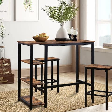 Veikous High Industrial Bar Dining Table Set with Storage Shelves