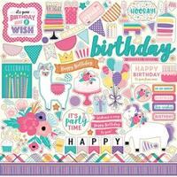 "Elements - Happy Birthday Girl Cardstock Stickers 12""X12"""