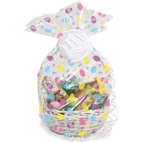 Club Pack of 12 White and Pink Decorative Easter Cello Egg Basket Bags 11