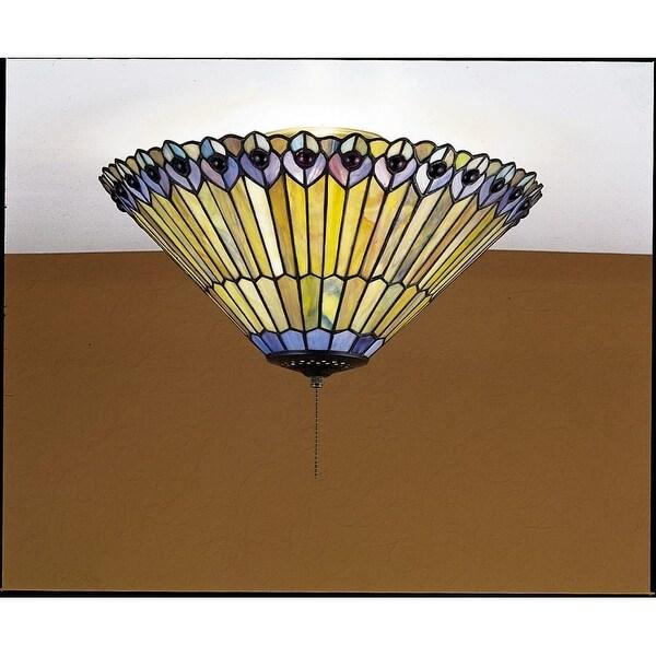 "Meyda Tiffany 27438 Tiffany Jeweled Peacock 3-Light 17"" Wide Flush Mount Ceiling Fixture with Tiffany Glass Shade"