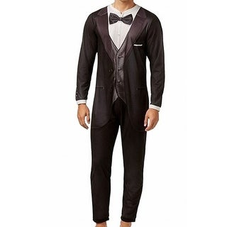 Briefly Stated NEW Black Mens Size Medium M Tuxedo Suit Jumper Pajamas