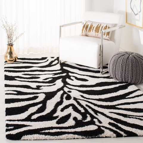 SAFAVIEH Florida Shag Rozinka Zebra Animal Print 1.2-inch Thick Rug