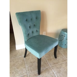 Handy living sirena deep turquoise blue velvet upholstered armless dining chairs set of 2 - Turquoise upholstered dining chair ...