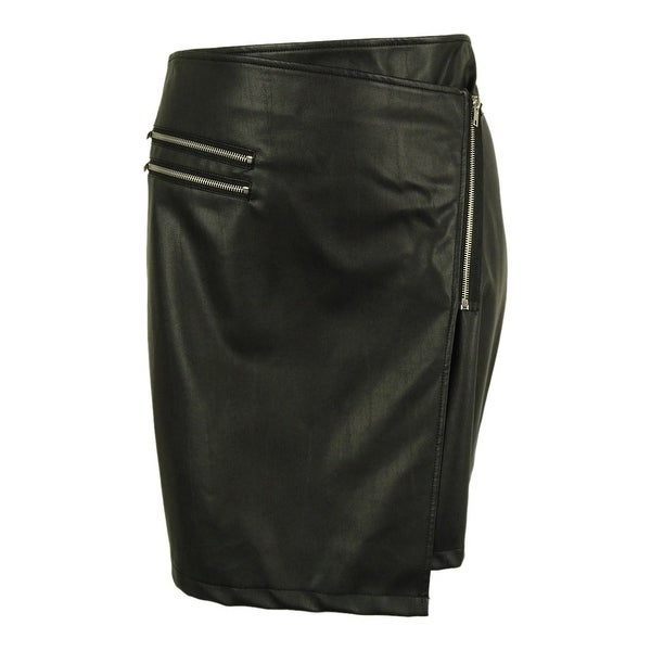 Junarose Women's Faux Leather Wrap Skirt
