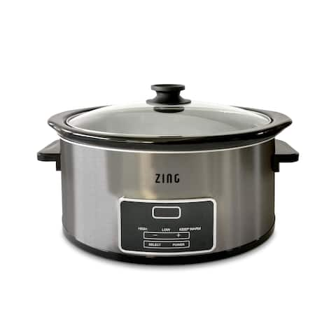 Zing 6 Qt Dark Stainless Steel Digital Slow Cooker