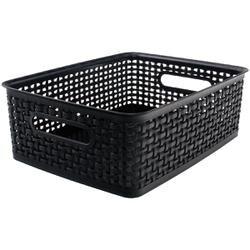 """Black; 13.75""""L X 10.5""""W X 4.625""""H - Weave Design Plastic Bin Medium"""