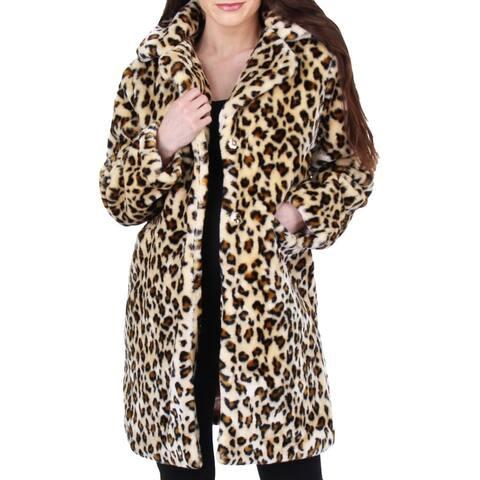 Juicy Couture Black Label Womens Faux Fur Coat Vegan Animal Print