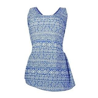 Womens Blue Tribal Front Sarong Plus Size 1pc Swimsuit 2X - women 2x