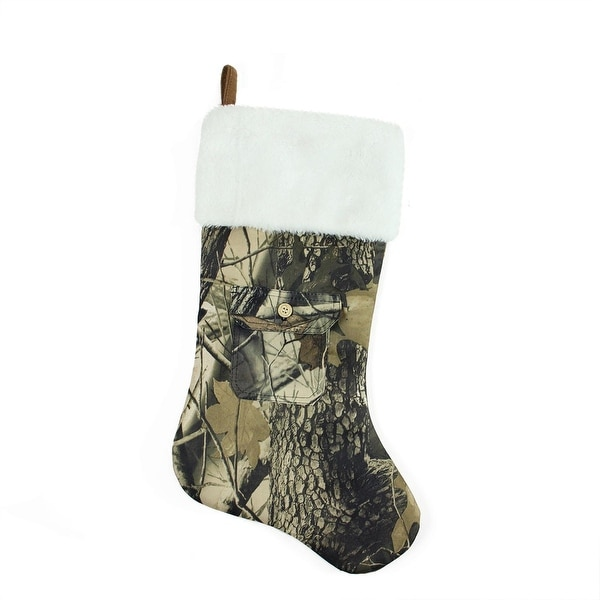 """20.5"""" Tree Print Camouflage Christmas Stocking with Pocket Design and White Faux Fur Cuff"""