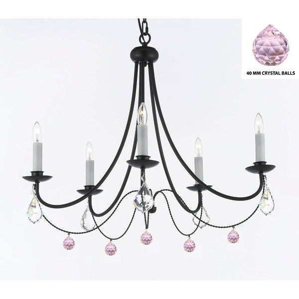 Empress Crystal (TM) Wrought Iron Chandelier Lighting  With Pink Balls Crystals