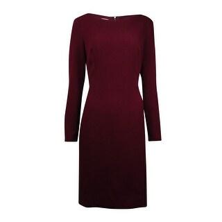Anne Klein Women's Pleather-Trim Woven Sheath Dress (8, Troubadour Red) - 8