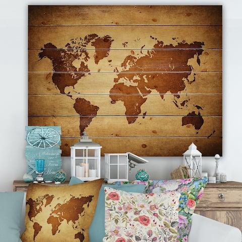 Designart 'Ancient Map of The World VI' Vintage Print on Natural Pine Wood