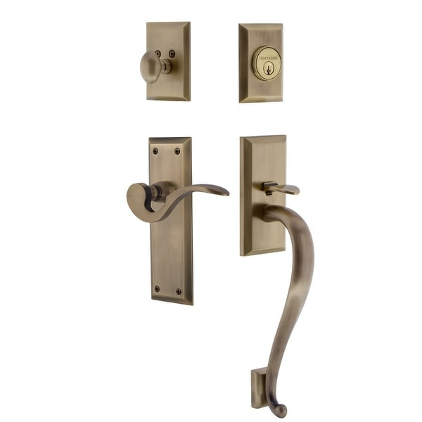 Nostalgic Warehouse NYKMAN_ESET_234_SG_RH New York Right Handed Sectional Single Cylinder Keyed Entry Handleset with S Grip and